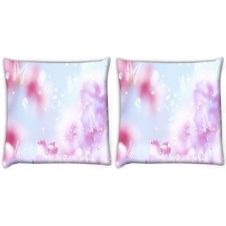 Snoogg Pack Of 2 Sparkling Butterflies Digitally Printed Cushion Cover Pillow 10 x 10 Inch