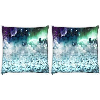 Snoogg Pack Of 2 Sparkling Sky Digitally Printed Cushion Cover Pillow 10 x 10 Inch