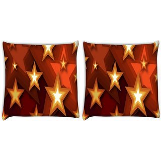 Snoogg Pack Of 2 Browny Stars Digitally Printed Cushion Cover Pillow 10 x 10 Inch