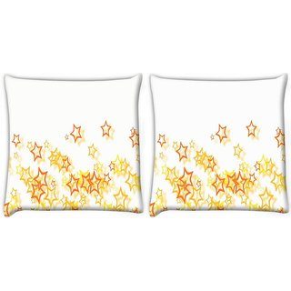 Snoogg Pack Of 2 Small Yellow Stars Digitally Printed Cushion Cover Pillow 10 x 10 Inch