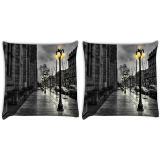 Snoogg Pack Of 2 Night At Street Digitally Printed Cushion Cover Pillow 10 x 10 Inch