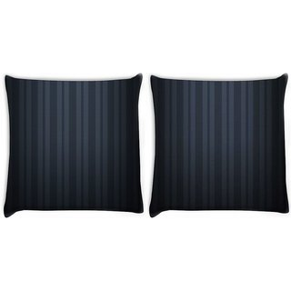Snoogg Pack Of 2 Black Stripes Digitally Printed Cushion Cover Pillow 10 x 10 Inch