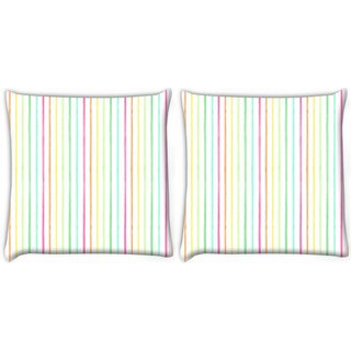 Snoogg Pack Of 2 Colorful Strips Digitally Printed Cushion Cover Pillow 10 x 10 Inch