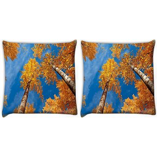Snoogg Pack Of 2 Tall Trees Digitally Printed Cushion Cover Pillow 10 x 10 Inch