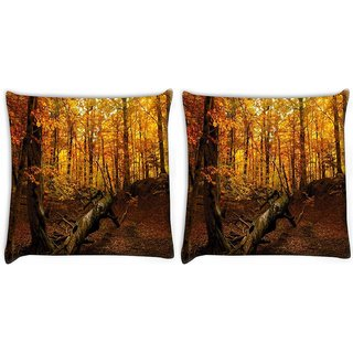 Snoogg Pack Of 2 Broken Tree Digitally Printed Cushion Cover Pillow 10 x 10 Inch