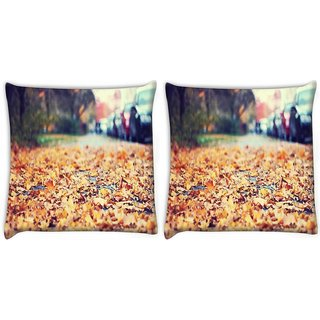 Snoogg Pack Of 2 Roadside Leaves Digitally Printed Cushion Cover Pillow 10 x 10 Inch