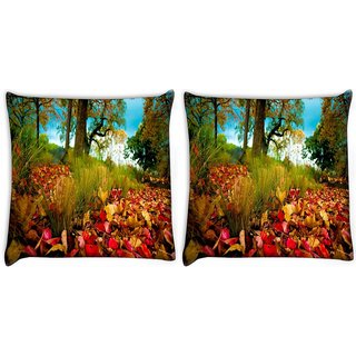 Snoogg Pack Of 2 Dry Leaves On Ground Digitally Printed Cushion Cover Pillow 10 x 10 Inch