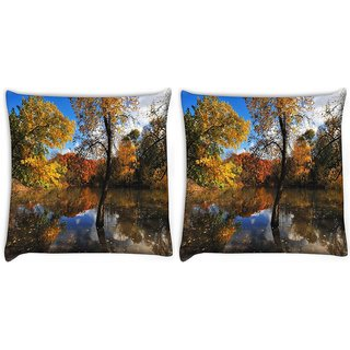 Snoogg Pack Of 2 Small Lake In Forest Digitally Printed Cushion Cover Pillow 10 x 10 Inch