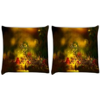 Snoogg Pack Of 2 Morning Sunlight Digitally Printed Cushion Cover Pillow 10 x 10 Inch