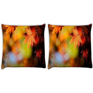 Snoogg Pack Of 2 Autumn Leaves In Trees Digitally Printed Cushion Cover Pillow 10 x 10 Inch