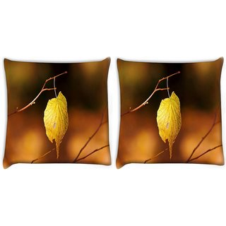 Snoogg Pack Of 2 Single Leaf In Tree Digitally Printed Cushion Cover Pillow 10 x 10 Inch
