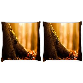 Snoogg Pack Of 2 Fallen Leaf Digitally Printed Cushion Cover Pillow 10 x 10 Inch