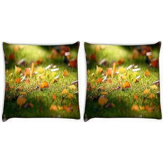 Snoogg Pack Of 2 Lake Side Forest Digitally Printed Cushion Cover Pillow 10 x 10 Inch
