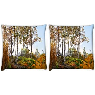 Snoogg Pack Of 2 Sunshine Forest Digitally Printed Cushion Cover Pillow 10 x 10 Inch