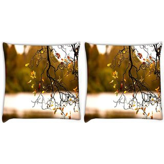 Snoogg Pack Of 2 Yellow Leaves On Trees Digitally Printed Cushion Cover Pillow 10 x 10 Inch