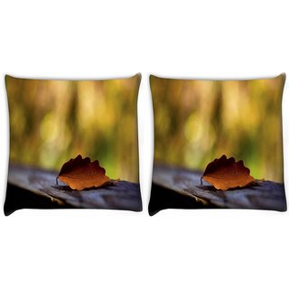 Snoogg Pack Of 2 Red Leaves With Green Leaves Digitally Printed Cushion Cover Pillow 10 x 10 Inch