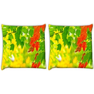 Snoogg Pack Of 2 Red Leaves On Tree Digitally Printed Cushion Cover Pillow 10 x 10 Inch