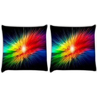 Snoogg Pack Of 2 Multicolor Abstract Design Digitally Printed Cushion Cover Pillow 10 x 10 Inch
