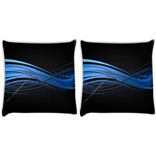 Snoogg Pack Of 2 Abstract Blue Design Digitally Printed Cushion Cover Pillow 10 x 10 Inch