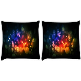 Snoogg Pack Of 2 Multicolor Bubbles Digitally Printed Cushion Cover Pillow 10 x 10 Inch