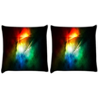 Snoogg Pack Of 2 Abstract Triangle Design Digitally Printed Cushion Cover Pillow 10 x 10 Inch