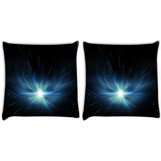 Snoogg Pack Of 2 Abstract Stars Design Digitally Printed Cushion Cover Pillow 10 x 10 Inch