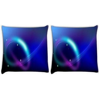 Snoogg Pack Of 2 Neon Pattern Design Digitally Printed Cushion Cover Pillow 10 x 10 Inch