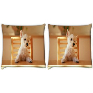 Snoogg Pack Of 2 Puppy Sitting In Chair Digitally Printed Cushion Cover Pillow 10 x 10 Inch