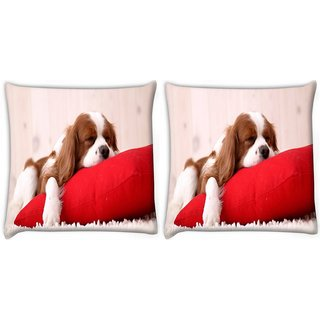 Snoogg Pack Of 2 Dog Sleeping In A Pillow Digitally Printed Cushion Cover Pillow 10 x 10 Inch