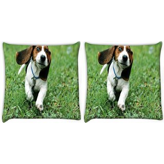 Snoogg Pack Of 2 Running Dog Digitally Printed Cushion Cover Pillow 10 x 10 Inch