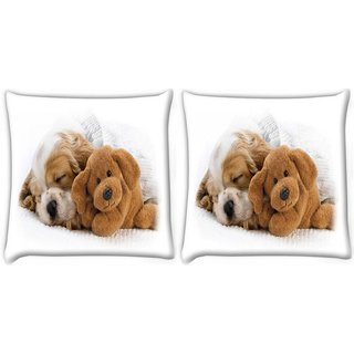 Snoogg Pack Of 2 Puppy Sleepng With Teddy Digitally Printed Cushion Cover Pillow 10 x 10 Inch