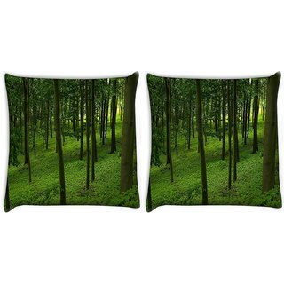 Snoogg Pack Of 2 Green Forest Digitally Printed Cushion Cover Pillow 10 x 10 Inch