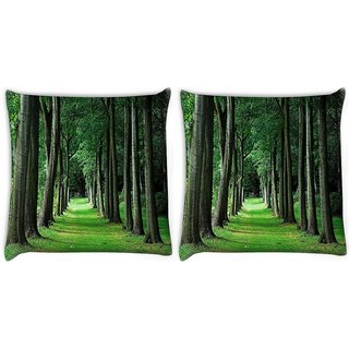Snoogg Pack Of 2 Walking Way In Forest Digitally Printed Cushion Cover Pillow 10 x 10 Inch