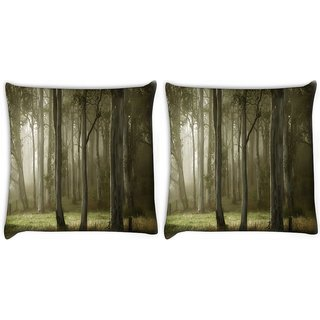 Snoogg Pack Of 2 White Tall Trees Digitally Printed Cushion Cover Pillow 10 x 10 Inch