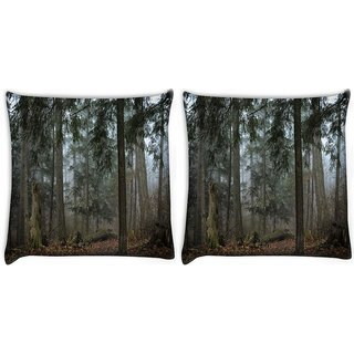 Snoogg Pack Of 2 Dried And Broken Tree Digitally Printed Cushion Cover Pillow 10 x 10 Inch