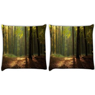 Snoogg Pack Of 2 Red Tree On Ground Digitally Printed Cushion Cover Pillow 10 x 10 Inch