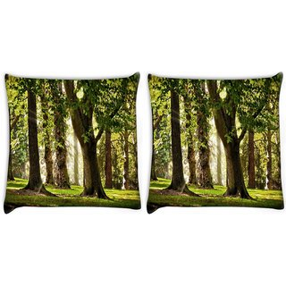 Snoogg Pack Of 2 Blossom Forest Digitally Printed Cushion Cover Pillow 10 x 10 Inch