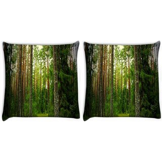 Snoogg Pack Of 2 Wooden Trees Used Digitally Printed Cushion Cover Pillow 10 x 10 Inch