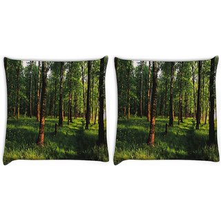 Snoogg Pack Of 2 Grass And Trees Digitally Printed Cushion Cover Pillow 10 x 10 Inch