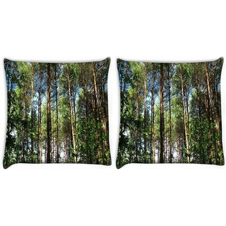Snoogg Pack Of 2 Multiple Branched Tree Digitally Printed Cushion Cover Pillow 10 x 10 Inch