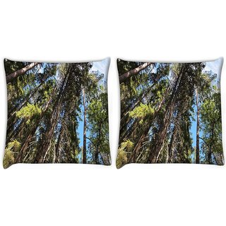 Snoogg Pack Of 2 Abstract Tree Digitally Printed Cushion Cover Pillow 10 x 10 Inch
