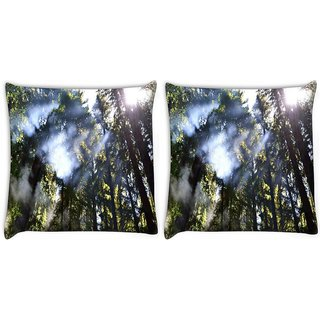 Snoogg Pack Of 2 Smoked Forest Digitally Printed Cushion Cover Pillow 10 x 10 Inch