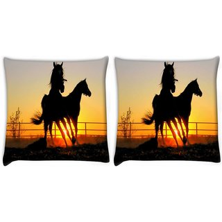 Snoogg Pack Of 2 Shade Of Horses Digitally Printed Cushion Cover Pillow 10 x 10 Inch