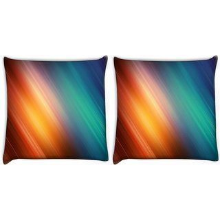 Snoogg Pack Of 2 Abstract Rays Of Color Digitally Printed Cushion Cover Pillow 10 x 10 Inch