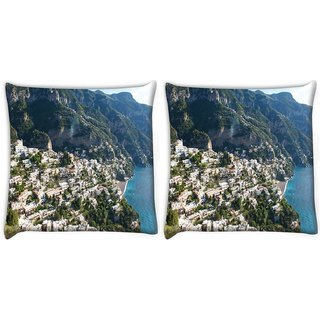 Snoogg Pack Of 2 White Clouds Digitally Printed Cushion Cover Pillow 10 x 10 Inch