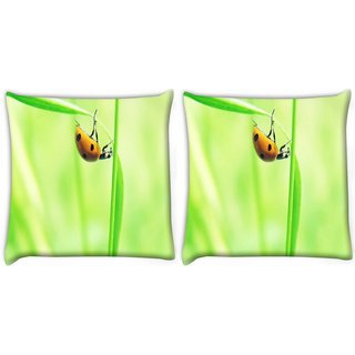 Snoogg Pack Of 2 Beatel In Yellow Digitally Printed Cushion Cover Pillow 10 x 10 Inch