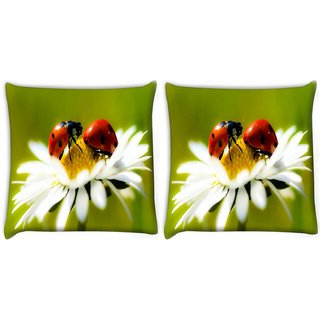 Snoogg Pack Of 2 Beatel And Water Drops Digitally Printed Cushion Cover Pillow 10 x 10 Inch