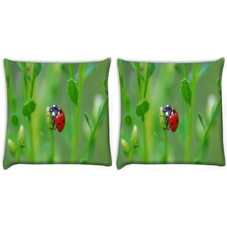 Snoogg Pack Of 2 Red Beatel Digitally Printed Cushion Cover Pillow 10 x 10 Inch