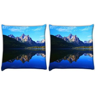 Snoogg Pack Of 2 Mirror Image Of Mountain Digitally Printed Cushion Cover Pillow 10 x 10 Inch