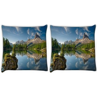 Snoogg Pack Of 2 Trees And River Digitally Printed Cushion Cover Pillow 10 x 10 Inch